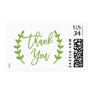 Chic Greenery Calligraphy Thank You Postage
