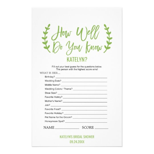 Chic Greenery How Well Do You Know The Bride Game Flyer