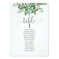 Chic greenery wedding table plan, modern font invitation