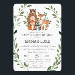 """Chic Greenery Woodland Animals Baby Shower by Mail Invitation<br><div class=""""desc"""">Personalize this chic greenery woodland animals baby shower by mail invitation with your message and details today! Simply press the customize it button to further re-arrange and format the style and placement of the text. Featuring watercolor greenery wreath and whimsical woodland animals. Perfect for baby boy, baby girl, gender neutral...</div>"""
