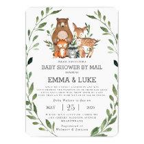 Chic Greenery Woodland Animals Baby Shower by Mail Invitation