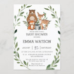 """Chic Greenery Woodland Animals Baby Shower Forest Invitation<br><div class=""""desc"""">Personalize this chic greenery woodland animals invitation with your party details today! Simply press the customize it button to further re-arrange and format the style and placement of the text. Featuring watercolor greenery wreath and whimsical woodland animals. Perfect for baby boy, baby girl, gender neutral or gender reveal shower. Matching...</div>"""