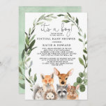 Chic Greenery Woodland Animals Virtual Baby Shower Invitation