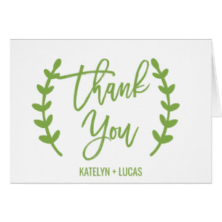Chic Greenery Wreath Calligraphy Thank You Card