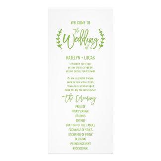 Chic Greenery Wreath Calligraphy Wedding Program