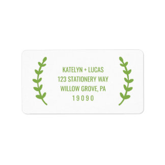 Chic Greenery Wreath Wedding Label