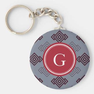 Chic grey abstract geometric pattern monogram keychain