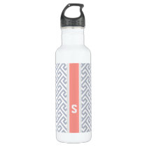 Chic grey abstract geometric pattern monogram water bottle