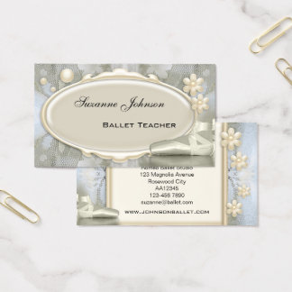 Chic Grey Ballet Dance Business Card