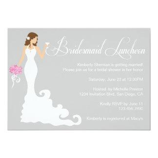 Chic Grey Bridesmaid Luncheon Card