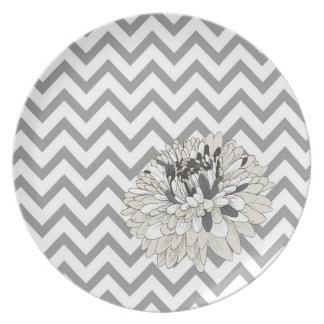Chic Grey Chevron chrysanthemum plate