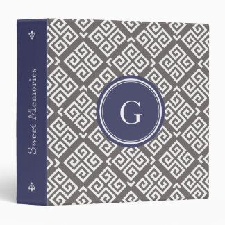Chic grey greek key geometric patterns monogram vinyl binders
