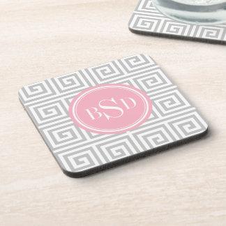 Chic grey greek key geometric patterns monogram coaster