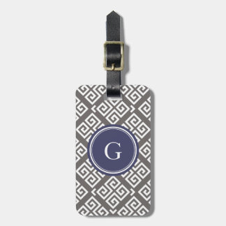 Chic grey greek key geometric patterns monogram luggage tag