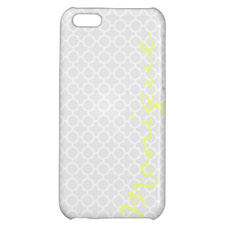 chic grey pattern with lemon text cover for iPhone 5C