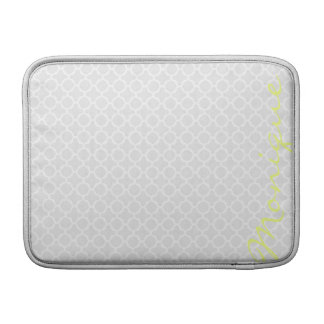 chic grey pattern with lemon text sleeve for MacBook air