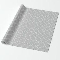 Chic grey quatrefoil trellis pattern wrappingpaper