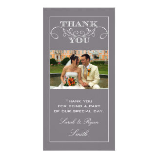 Chic Grey Wedding Thank You Photo Cards