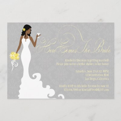 Chic Grey Yellow Here Comes the Bride Shower Invitation