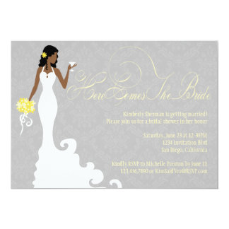 """Chic Grey Yellow Here Comes the Bride Shower 5"""" X 7"""" Invitation Card"""