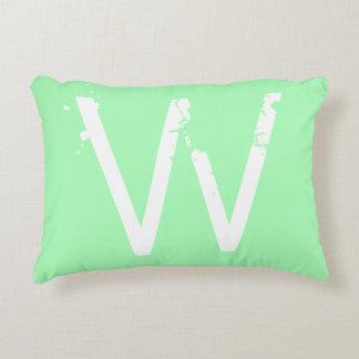 Chic Grunge Monogram Mint Green Accent Pillow