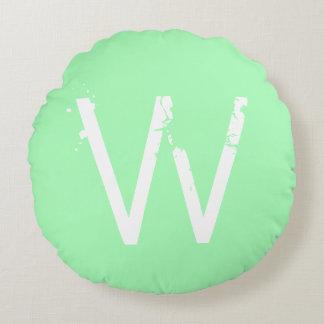Chic Grunge Monogram Mint Green Round Pillow