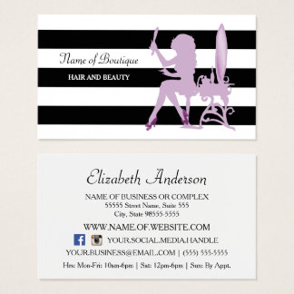 Chic Hair Salon Purple Glitz Girl Black Stripes Business Card