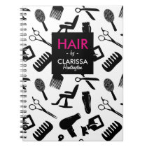 Chic Hair Stylist Pattern Custom Name Notebook