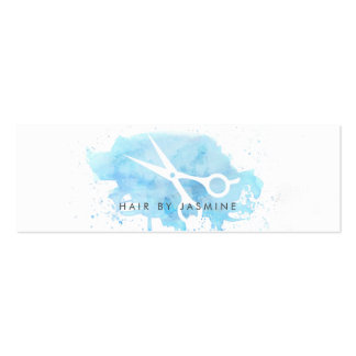 chic hairstylist hair watercolor budget cheap blue mini business card