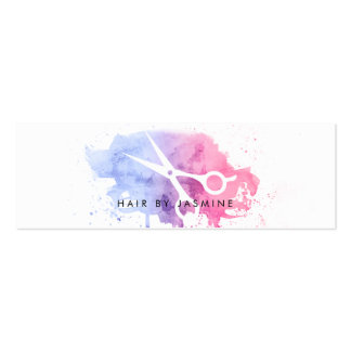 chic hairstylist hair watercolor budget cheap pink mini business card