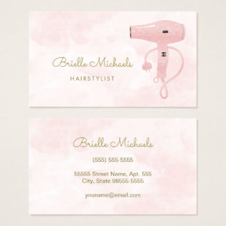Chic Hairstylist Soft Pink FAUX Glitter Hairdryer Business Card