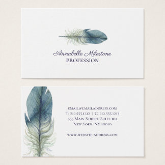 Chic Hand drawn blue gray watercolor feather Business Card