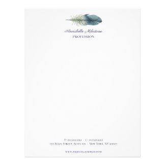 Chic Hand drawn blue gray watercolor feather V1 Letterhead