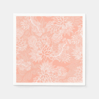 Chic hand drawn floral pattern on pink blush napkin
