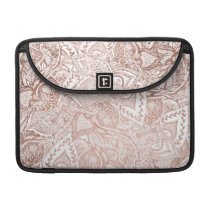 Chic hand drawn rose gold floral mandala pattern MacBook pro sleeve