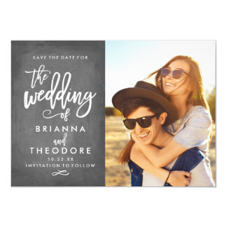Chic Hand Lettered Chalkboard Save The Date Photo Card