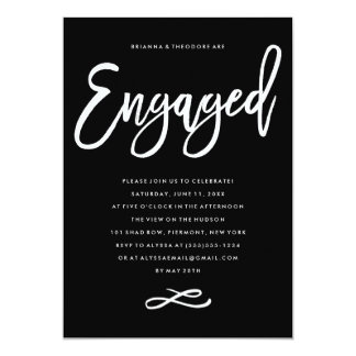 Chic Hand Lettered Engagement Party Invitation