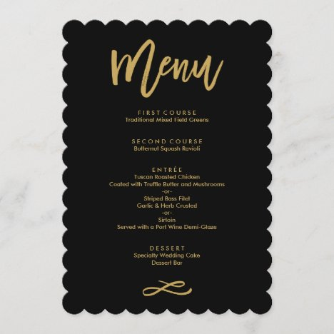 Chic Hand Lettered Gold and Black Wedding Menu