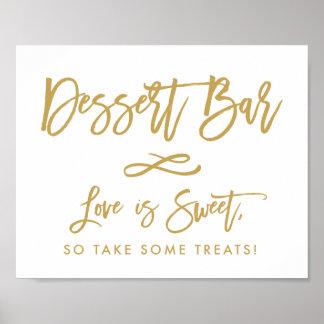 Chic Hand Lettered Gold Dessert Bar Poster