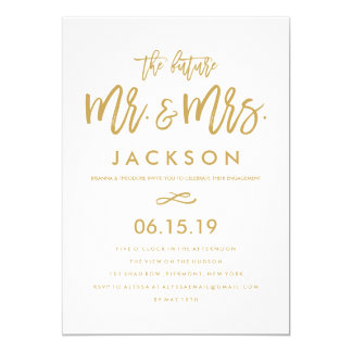 Chic Hand Lettered Gold Engagement Party Card