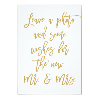 Chic Hand Lettered Gold Photo and Wishes Card