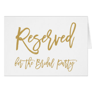 Chic Hand Lettered Gold Reserved for Bridal Party Card