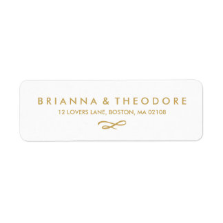 Chic Hand Lettered Gold Return Address Label