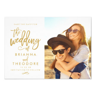 Chic Hand Lettered Gold Save The Date Photo Card