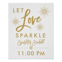 Chic Hand Lettered Gold Sparkler Sendoff Sign