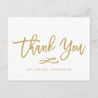 Chic Hand Lettered Gold Thank You Flat Card