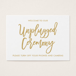 Chic Hand Lettered Gold Unplugged Ceremony Business Card