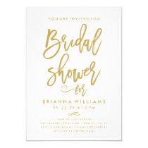 Chic Hand Lettered Gold Wedding Bridal Shower Card