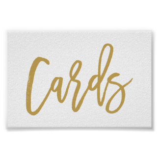Chic Hand Lettered Gold Wedding Cards Poster