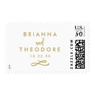 Chic Hand Lettered Gold Wedding Date Postage Stamp